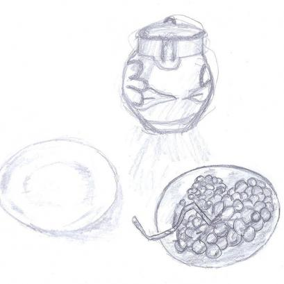 Vase and Grapes